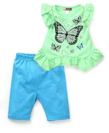Baby Ziggles Flutter Sleeves Top And Shorts Butterfly Print - Green Sky Blue