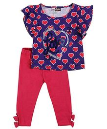 Baby Ziggles Flutter Sleeves Top And Leggings Heart Print - Blue