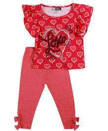Baby Ziggles Flutter Sleeves Top And Leggings Heart Print - Red