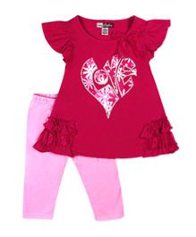 Baby Ziggles Ruffled Sleeves Top And Leggings Bow Applique - Pink