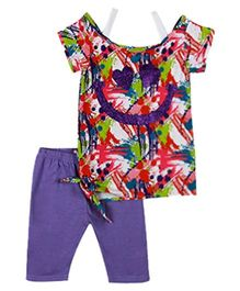 Baby Ziggles Short Sleeves Top And Leggings Smiley Face Print  - Red And Purple