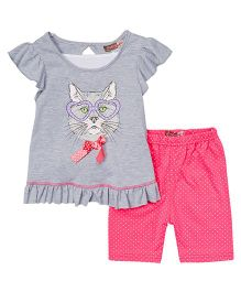 Baby Ziggles Flutter Sleeves Top And Leggings Cat Print - Grey