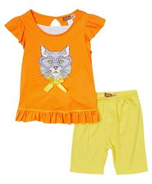 Baby Ziggles Flutter Sleeves Top And Leggings Cat Print - Orange