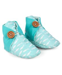 Bootie Patootie Fish High Top Booties - Blue