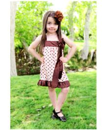 Cocalily Boutique Singlet Party Satin Dress Polka Dot Pattern - Brown And Cream