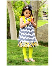 Cocalily Boutique Singlet Party Pillowcase Dress Zig Zag Pattern- Grey And Yellow