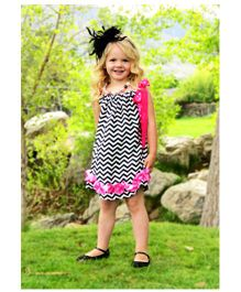 CocaLily Boutique Sleeveless Chevron Pillowcase Dress - Black And Pink