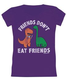 Toddler Tee Caption Print Friends Don't Eat Friends - Purple