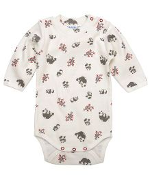 Under The Nile Full Sleeves High Neck Babybody Panda Print - Off White