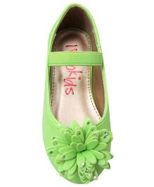 Yokids Slip-On Belly Shoes Floral  Applique - Green