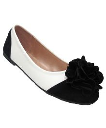 Yokids Slip-On Belly Shoes Floral Applique - Black And White