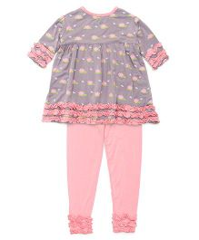 Kickee Pants Long Sleeve Babydoll Outfit Set Floral Print - Grey And Pink