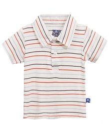 Kickee Pants Short Sleeve Applique Polo Stripe Pattern - Multicolour