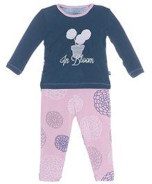 Kickee Pants Long Sleeve Top And Pajama Set Flora Print - Navy And Pink
