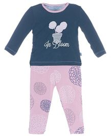 Kickee Pants Long Sleeve Top And Pajama Set Flora Print - Navy And Pink