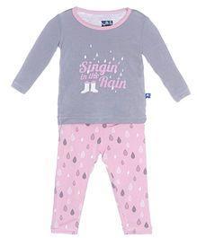 Kickee Pants Long Sleeve Top And Pajama Set Rain Drops Print - Grey And Pink