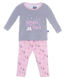 Kickee Pants Long Sleeve Top And Pajama Set Rain Drops Print - Grey And Pink