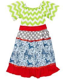 Little Miss Fairytale Floral Chevron Dress - Lime And Blue