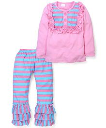 Little Miss Fairytale Top And Stripe Ruffle Pant - Pink And Blue