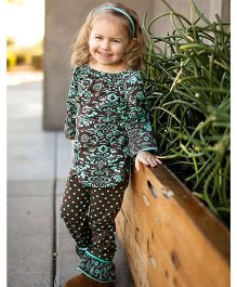 Little Miss Fairytale Top And Leggings - Brown And Teal