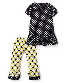 Little Miss Fairytale Quatrefoil Top And Leggings - Black And Yellow