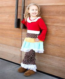 Little Miss Fairytale Dot Dress And Leggings - Red And Brown
