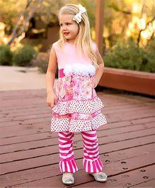 Little Miss Fairytale Floral Ruffle Dress And Stripe Leggings - Pink