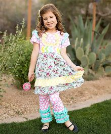 Little Miss Fairytale Polka Dot Floral Dress And Leggings - Pink