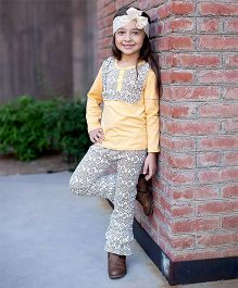 Little Miss Fairytale Geometric Top And Ruffle Pants - Light Yellow
