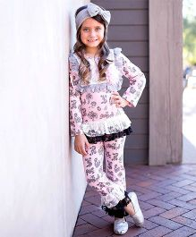 Little Miss Fairytale Floral Top And Lace Ruffle Pants - Pink