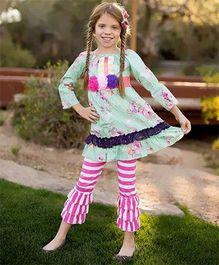 Little Miss Fairytale Floral Dress And Stripe Ruffle Leggings - Seafoam Green