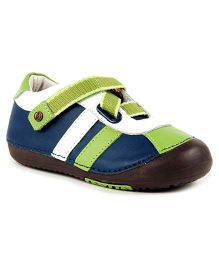 Momo Baby Z-Strap Leather Sneakers - Slate And Green
