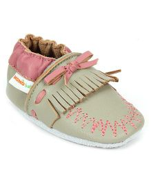 Momo Baby Soft Sole Moccasin Leather Shoes - Grey