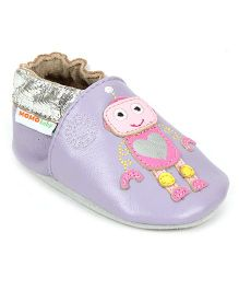 Momo Baby Soft Sole Girly Gears Leather Crib Shoes - Purple