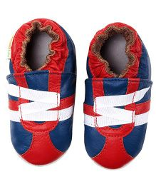 Momo Baby Z-Strap Leather Sneakers - Blue And Red