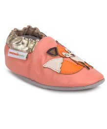 Momo Baby Soft Sole Leather Shoes Fox Patch - Peach