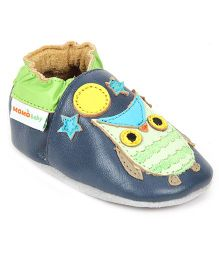 Momo Baby Soft Sole Leather Shoes Owl Patch - Navy Blue