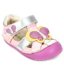 Momo Baby Butterfly Leather Sandals  - Silver And Pink
