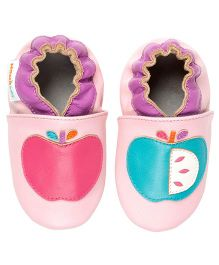 Momo Baby Apples Leather Crib Shoes - Pink