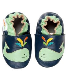 Whale Leather Crib Shoes - Navy