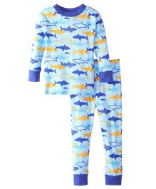 New Jammies Snuggly PJ Sharks Organic Cotton Night Suit - Blue
