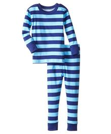 New Jammies Snuggly PJ Stripes Organic Cotton Night Suit - Navy