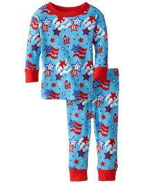 New Jammies Snuggly PJ Star Spangled Organic Cotton Night Suit - Blue
