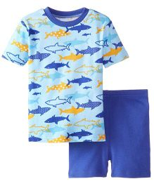 New Jammies Organic Cotton PJ Short Set Sharks  - Blue