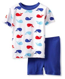 New Jammies Organic Cotton PJ Short Set Whales - Blue