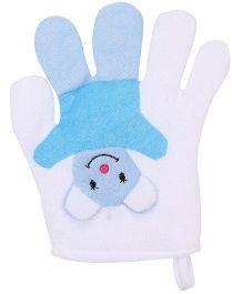 Baby Bath Glove Hand Shape Cartoon Design - White And Blue