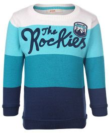 Fox Baby Full Sleeves Sweater The Rockies Print - Turquoise