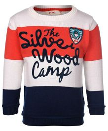 Fox Baby Full Sleeves Sweater The Wood Camp Print - Coral Navy
