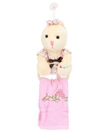 Napkin With Holder Bunny Shape - Cream And Pink