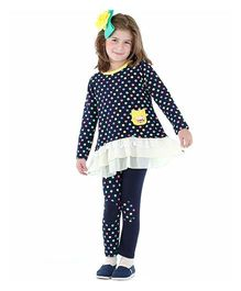 Bonny Billy & Blue Polka Dot Dress And Legging Set - Navy And White